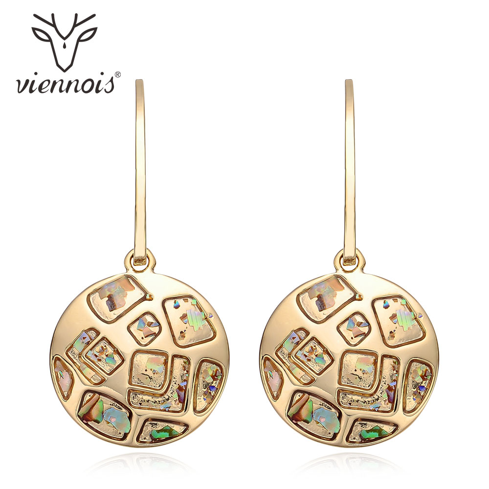 Viennois Gold Color Shell Pieces Dangle Earrings For Women Alloy Drop Earrings Female Chic Jewelry