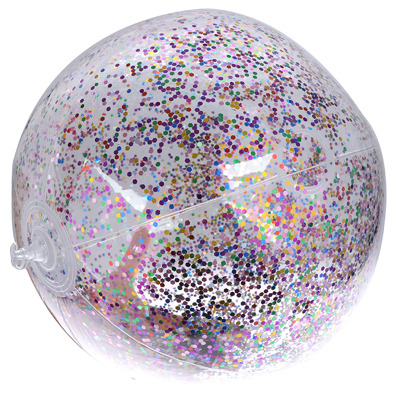 Transparent Bling Bling Swimming Ball Toys Round Inflatable Sequins Inside PVC Beach Ball Swimming Pool Floating Outdoor Toy