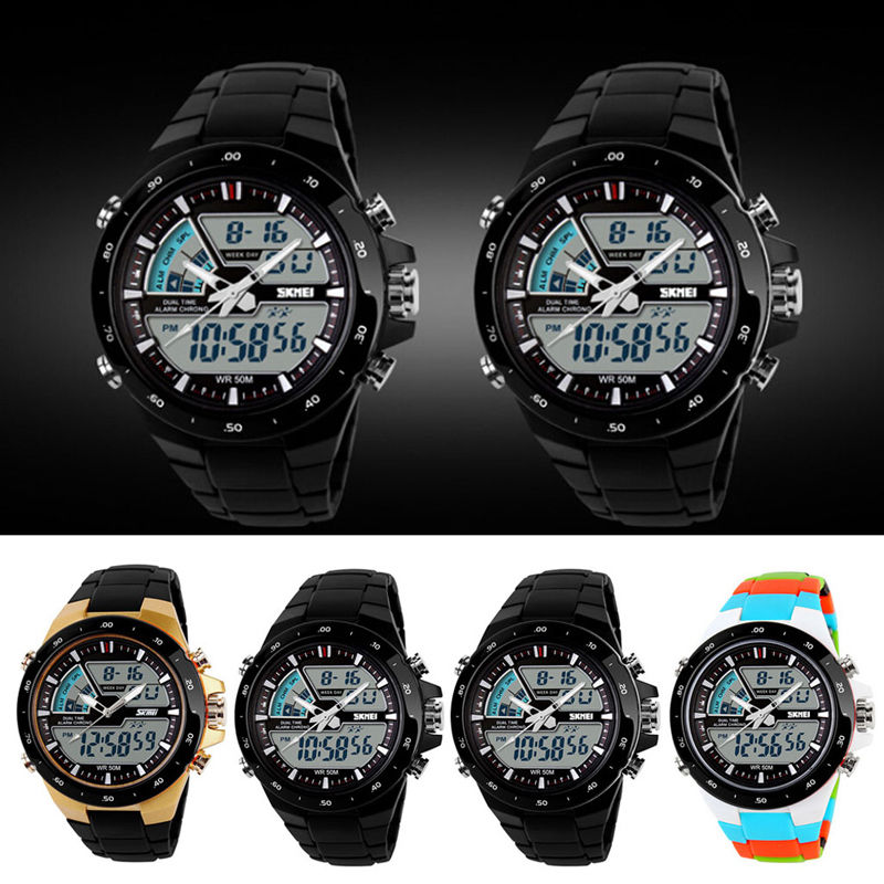 Fashion Men Sports Date Analog Quartz Faux Leather Stainless Steel Wrist Watches