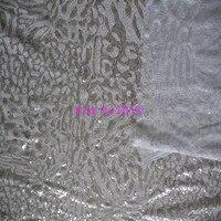 2 Yards/Lot 120 CM 3 MM + 3 MM di Disegno Del Leopardo Paillette Garza Ricamo Tessuto Materiale Tessile Per Vestito da cucire Fare Tessuto