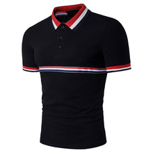 The new males's 100% cotton polo shirt distinction stitching model clothes health camisa polo stripe polo folks