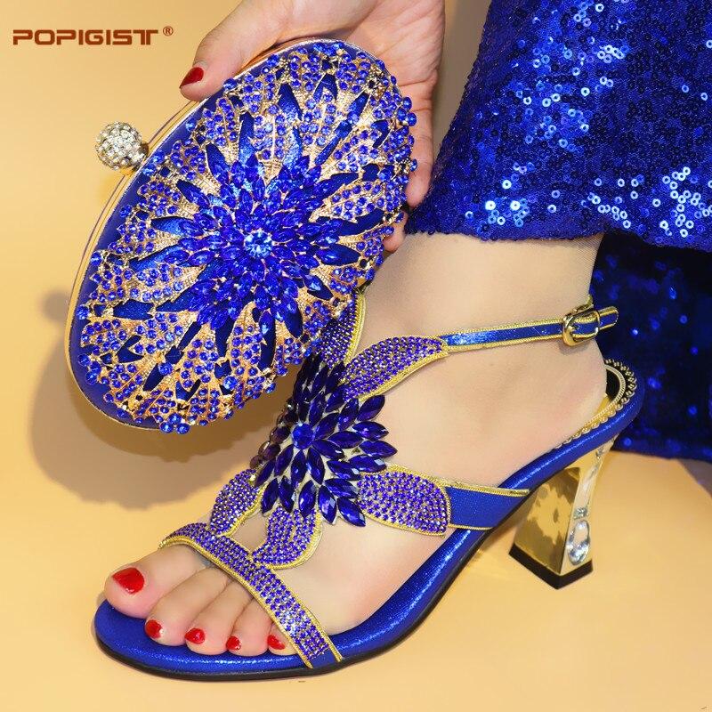 Correspondant Blue purple Assortir Italien Nigériane Set Haute Chaussures Sac royal Pompes Cm À 8 Italienne Gold Assorti silver Qualité Avec Chaussure La Et Pourpre qgqwFPnR