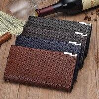 New Arrival Brand Weave Clutch Men Three Folds Wallets Male Wallet Genuine Leather 3 Fold Long
