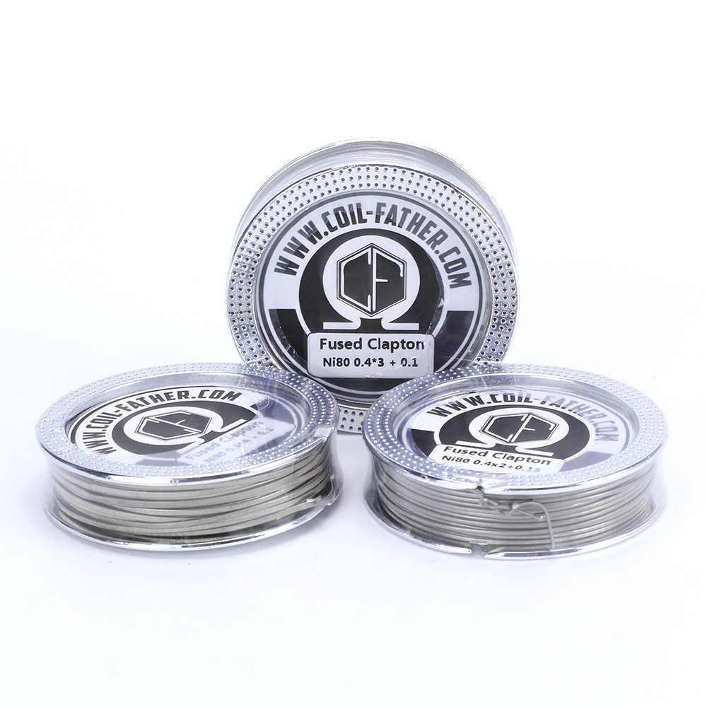Coil Father Newest 1 Box Fused Clapton Ni80 A1 SS316 Wire 5m/roll Heating Wires RDA RTA Electronic Cigarette Diy Atomizer