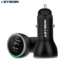 KEYSION Dual Port PD Fast Car Charger USB C Power Delivery Adapter Quick Charging for iPhone X 8 7 6 for Samsung S9 S8 Note 8 цена в Москве и Питере