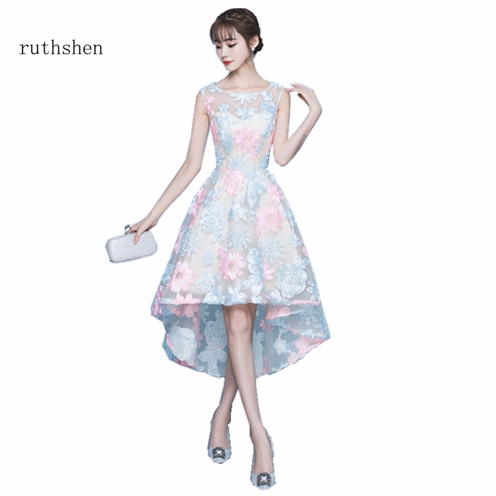 ruthshen Warming High Low Prom Dress Sleeveless Flowers Evening Party Gowns With Lace 2018