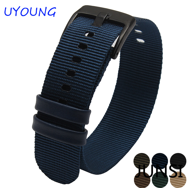 For Pebble time steel Strap Man Casual Watches Daniel Style Nylon Watchband 22mm Black Deployment Clasp Buckle