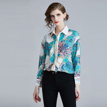 European style Fashion print womens Shirts 2019 Spring elegant long sleeves OL shirt A095