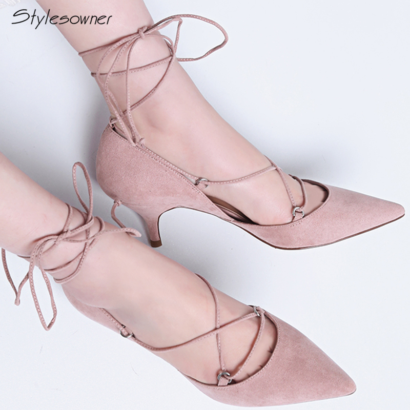 Stylesowner Sexy Women High Heels Cross Ankle Tied Pumps Lace Up Pointed Toe  Spiked Thin Heels Stiletto New Chic Party Shoes
