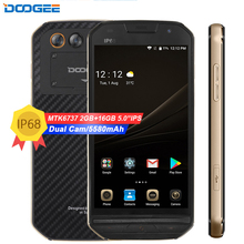 DOOGEE S30 5580mAh Side fingerprint Dual camera 5V/2A 5.0″HD Android 7.0 2GB RAM 16GB ROM Smartphone MTK6737 4G IP68 Waterproof