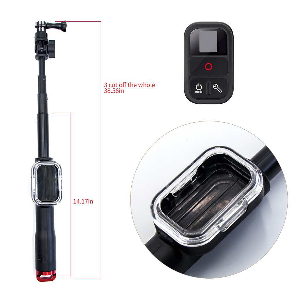 Remote Pole Handheld Monopod With WIFI Remote Housing Mount Tripod Adapter For Gopro Hero 3+/4/5/6 Session 4S 5S Selfie Stick aluminium handheld monopod with tripod mount adapter for xiaomi gopro