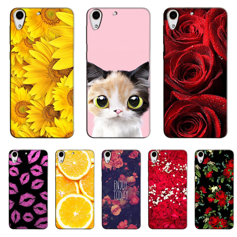 Cute Cat Girl Flower Painting Hard Plastic for HTC Desire 728 728G Dual Sim D728T D728W Printed Case Phone Protective Back Case