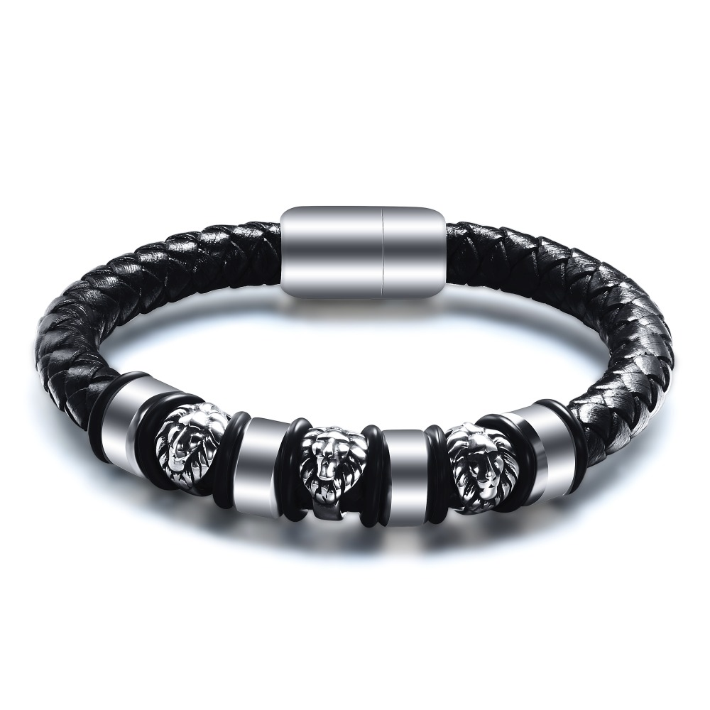 Punk Jewelry Leather Men Bracelet 3 Lion Head Charms Handmade Knitting Leather Bracelet For Valentine's Day Present