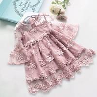 T Girl Lace Mandarin Sleeve Dress Baby Kids Princess Wedding Prom Party Big Three Quarter Sleeve
