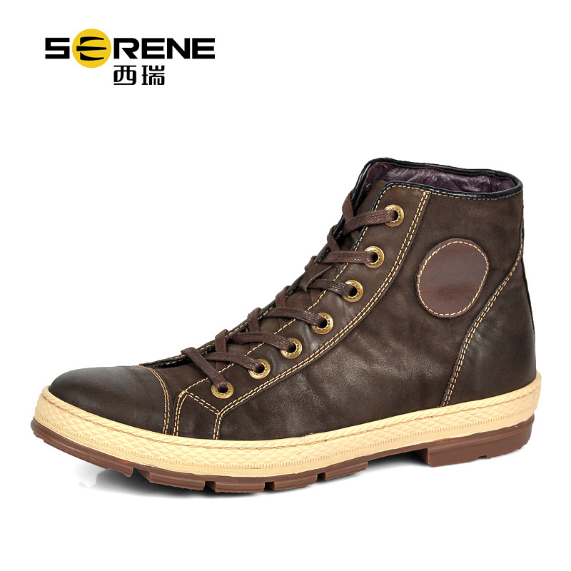SERENE 3213 Men's autumn winter top quality cow leather martin boots fashion 100% genuine leather high top men's boots