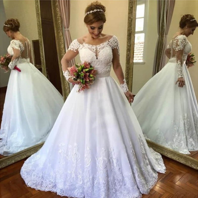 Lover Kiss Vestidos De Noiva Scoop Neck Tulle Wedding Dresses with Long Sleeves Brazilian Wedding Gowns vestido de casamento