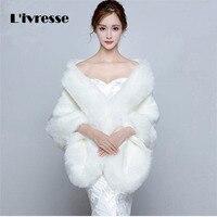 Wedding Faux Fur Coat Bolero Bridal Cape Winter Shawls Free Size Bridal Wraps Wedding Dress Accessories
