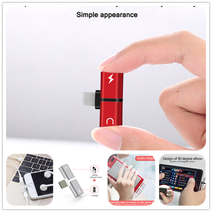 2 In 1 Dual Ports Headphone Adapter Phone Case Mini USB For IPhone X For 7 XS Max 6 7 8 Plus Charger Audio Splitter Accessories