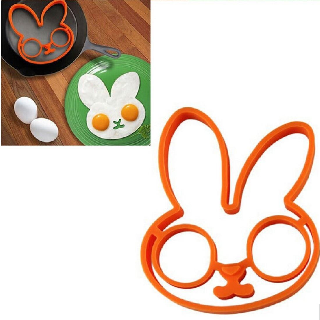 ∞Practical1PCS naranja silicona conejito Cartoon Fry huevo marco ...