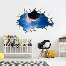 3D Effect Broken Wall Stereo Wall Sticker Removable Space Planet Wall Paper for  Living Room Ceiling Bedroom Home Decoration personality 3d broken wall space scenery heart shape wall art sticker