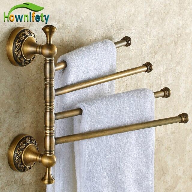 Antique Br Bathroom Four Towel Bars Holder Swivel Rack Wall Mounted