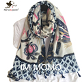 [Marte&Joven] Tassels Flowers Design Cotton Blends Scarf and Shawl for Women Ethnic Retro Style Peacock Print Foulard