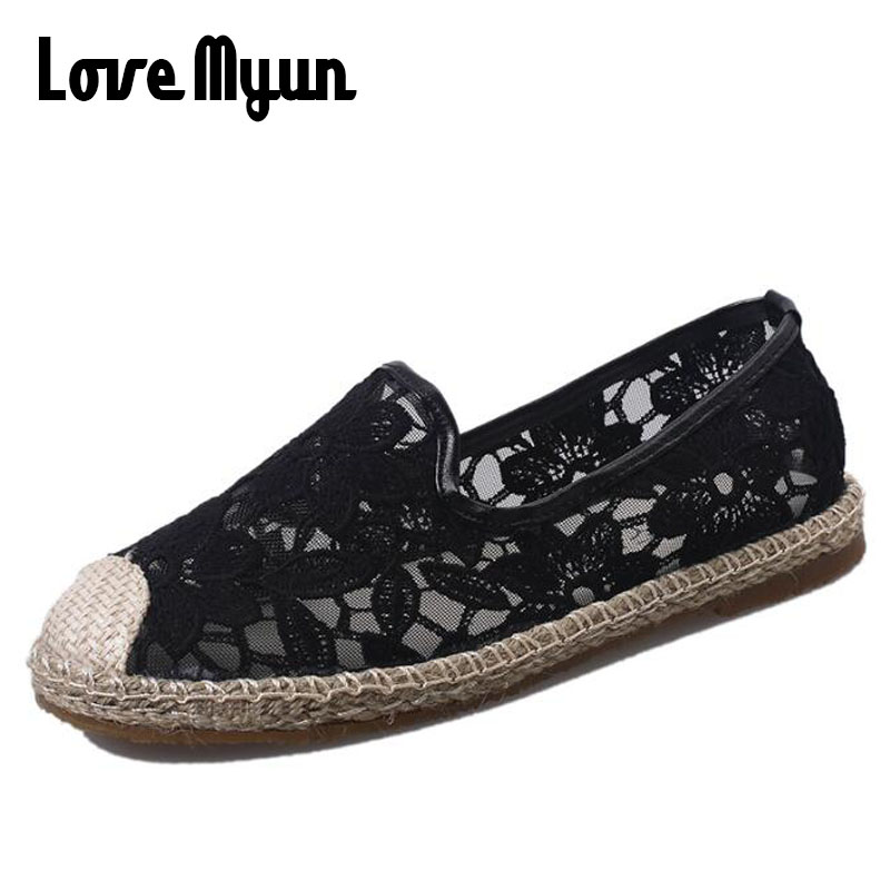Women Fashion Spring/Summer Shoe Casual Breathable Platform Flat Slip on Shoes Hollow Floral Cutouts Lace Canvas Mesh Shoe SB-92 summer women shoes casual cutouts lace canvas shoes hollow floral breathable platform flat shoe sapato feminino lace sandals page 3