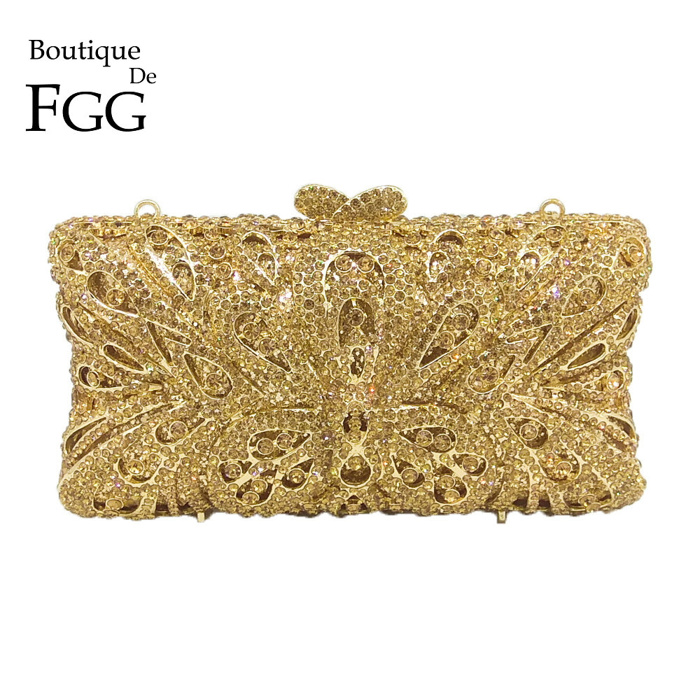 Boutique De FGG Hollow Out Butterfly Women Gold Crystal Evening Clutch Minaudiere Bag Wedding Cocktail Metal Handbag Purse colorful hollow out apple shape women gold crystal clutch evening bag wedding party cocktail minaudiere handbag purse
