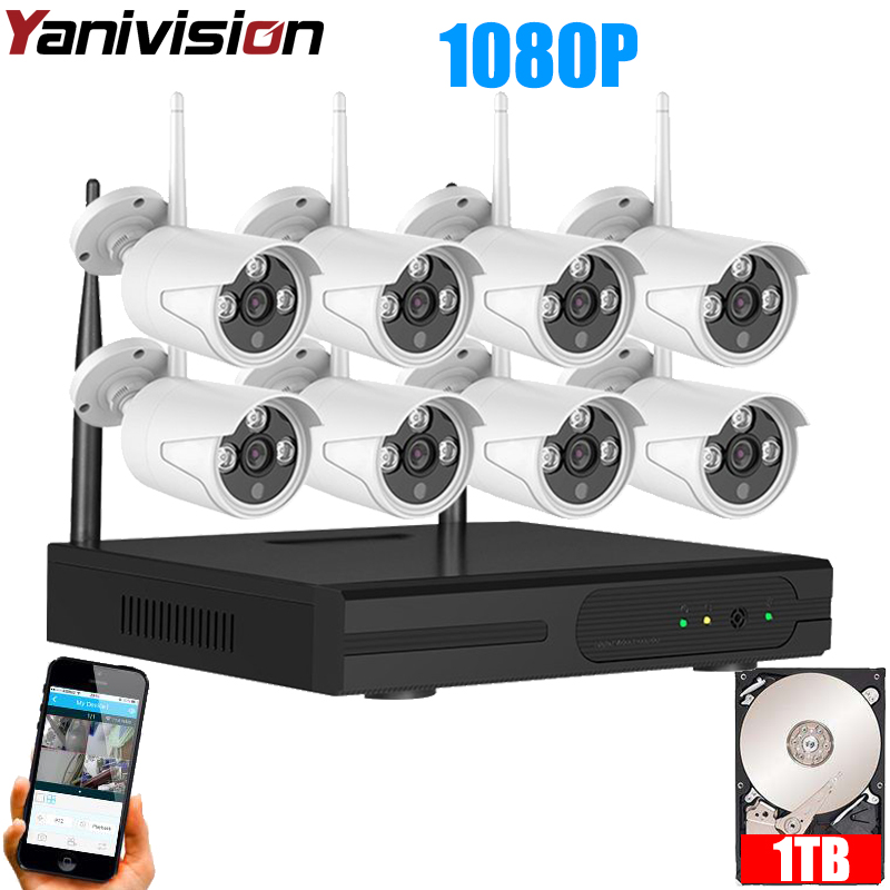 IP Wireless CCTV System 2M 8ch HD wi-fi NVR kit Outdoor IR Night Vision IP Wifi Camera Security System Surveillance Yanivision