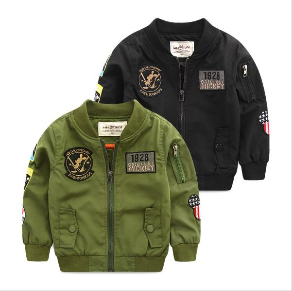 Spring Autumn Jackets for Boy Coat Bomber Jacket Army Green Boy's Windbreaker Winter Jacket Mickey Print Kids Children Jacket printed embroidered zip up bomber jacket