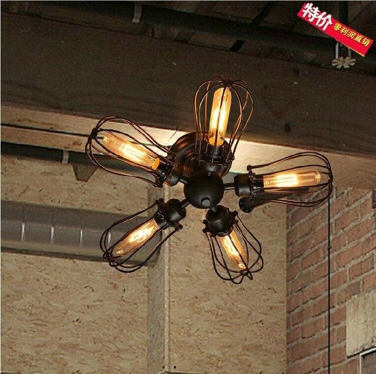 New Vintage 5 heads iron cage ceiling light loft lustre lamps for home decor restaurant dinning room fixture серия современная фантастика комплект из 2 книг