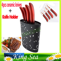 Oval shape plastic universal knife holder with 4pcs Flower printed 3456 ceramic knives, ceramic kitchen knife with stand