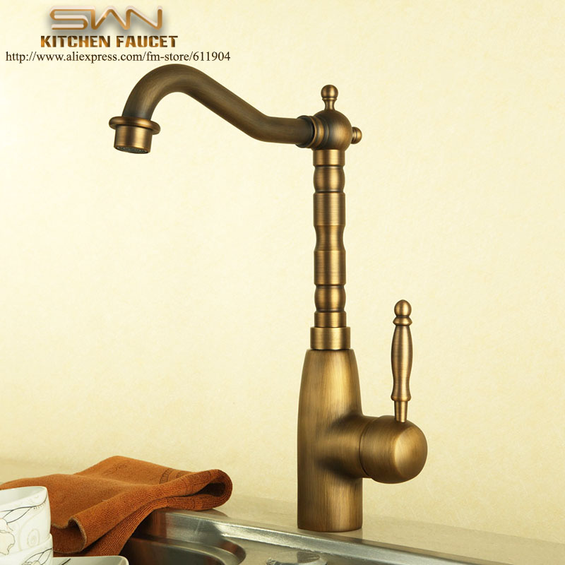 Retail Wholesale Free Shipping Antique Brass Kitchen Faucet Mixer Tap Swivel Spout Vessel Sink faucets Cold Hot Water taps free shipping pull out spray head kitchen faucet mixer tap swivel spout cold hot brass chrome sink faucet water tap wholesale