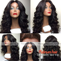 Free shipping 180% density heat resistant Syntehtilace front wig Brazilian Body Wave Black Hair Synthetic Wigs For Black Women