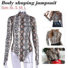 Snake Skin Bodysuit for Women Sexy Bodycon Skinny Body Suit Turtleneck Long Sleeve Printed Romper Jumpsuits