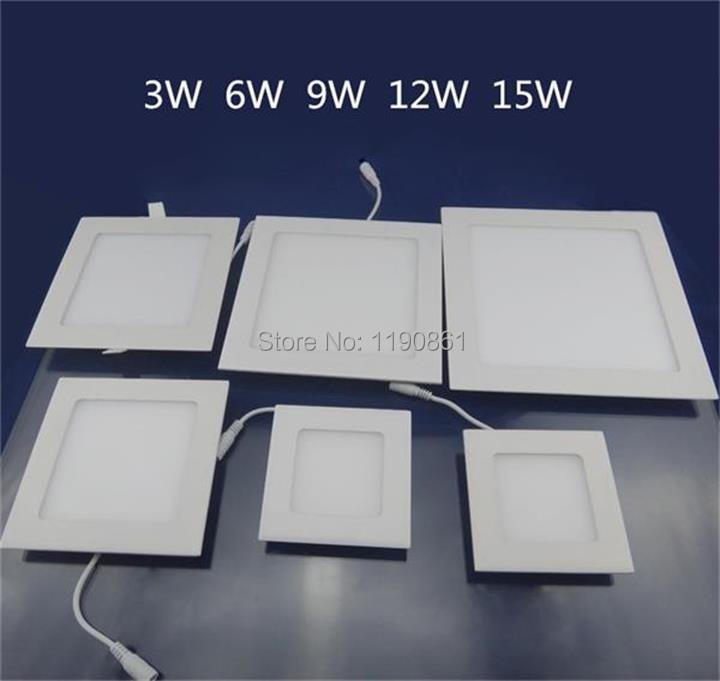 Spot Led Recessed Ceiling Light Lamp Square 3W/6W/9W/12W/15W led panel light free shipping X10