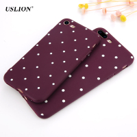 USLION Fashion Wine Red Wave Point Phone Case For iPhone 7 Plus Dots Soft TPU Cases Back Cover For iPhone7 Plus