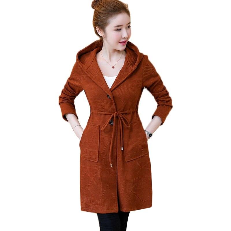 2019 New Women Knitwear Cardigan Coats Jackets Korean Hooded Long Outerwear Plus Size 5XL Female Casual Tops Spring Coat AA605