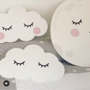 Nordic Decorative Wooden Rabbit Clouds Moon Wall Stickers Wall Hanging Kids Room Decorations Christmas Photography Props Gift(China)