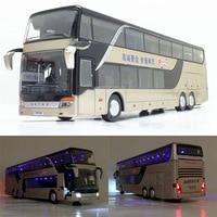 Modelo de autobús de fricción de aleación 1:32, gran imitación, autobús de turismo doble, vehículo de juguete flash, gran calidad, envío gratis