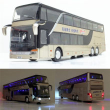 Sale High quality 1:32 alloy pull back bus model,high imitation Double sightseeing bus,flash toy vehicle, free shipping(China)