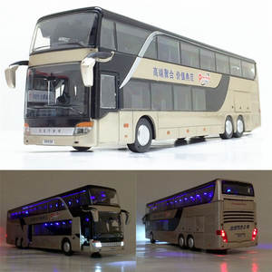 Flash-Toy Bus-Model Vehicle Pull-Back 1:32-Alloy High-Quality Double-Sightseeing Sale