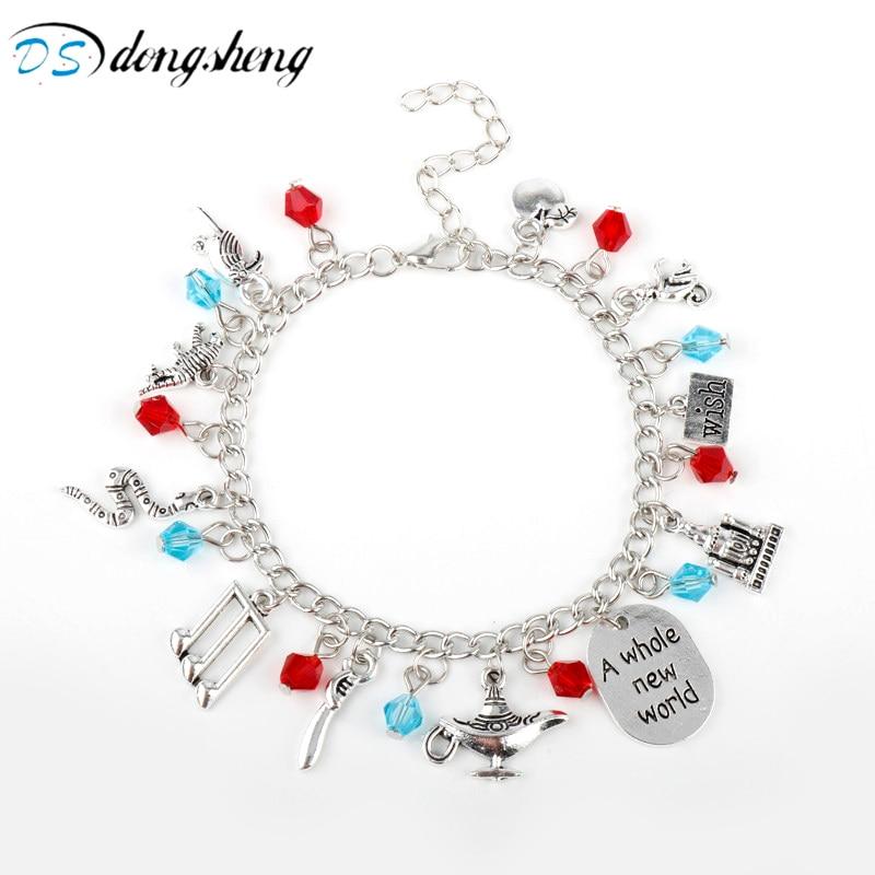 Aladdin Charm Bracelets & Bangles Letter A Whole New World Animals Dream Life Wish Dog Tag Crystal Romantic Bird Bracelet-20