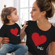 love print family matching clothes outfits 2019 tops mama mom and daughter tee baby boho fashion cotton christmas new