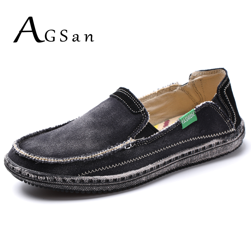 AGSan 2018 Spring Summer Canvas Casual Shoes Men SlipOn Lazy Shoes Big Size 39-46 10 Washed Denim Flats Black Blue Classic Shoes dc shoes ремень dc shoes chinook washed indigo fw17 one size