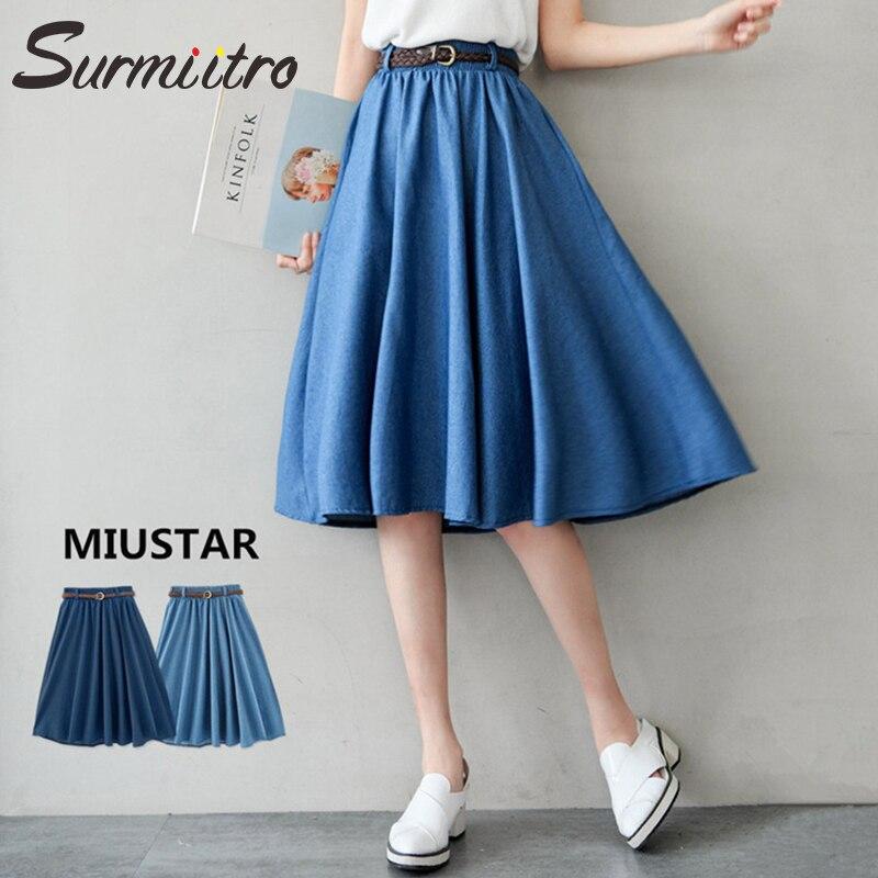 Surmiitro Blue Denim Summer Skirt Women With Belt 2019 Midi Knee Length A-line Pleated High Waist Sun School Jeans Skirt Female