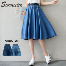 Surmiitro Blue Denim Summer Skirt Women With Belt 2019 Midi Knee Length A line Pleated High Waist Sun School Jeans Skirt Female