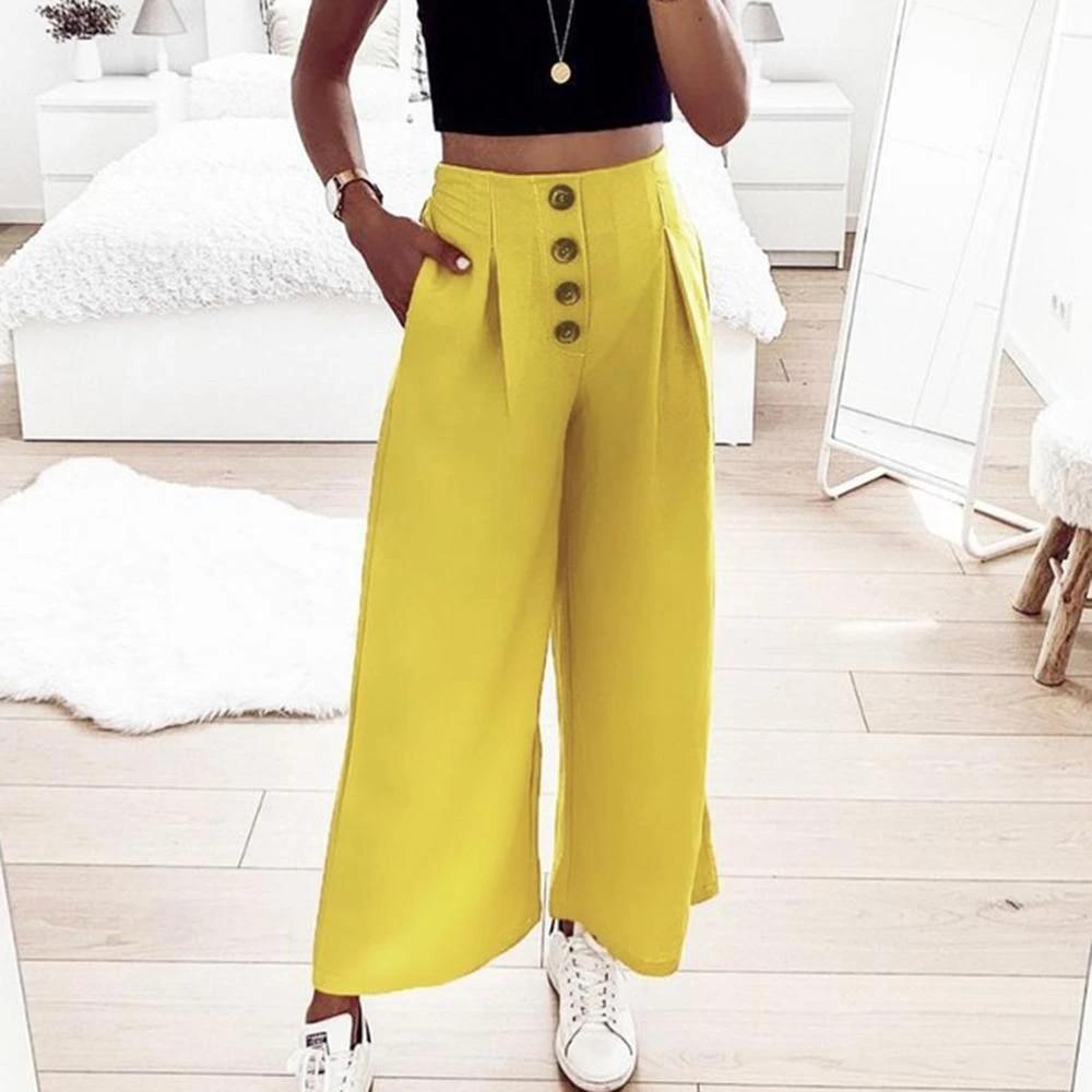 Pantalones Anchos De Verano De 2019 Para Mujer Pantalones De Cintura Alta Casual De Color Solido Con Botones Hasta El Tobillo Para Mujer Pantalones Sueltos Capris Elegantes Pantalones Y Pantalones Capri Aliexpress