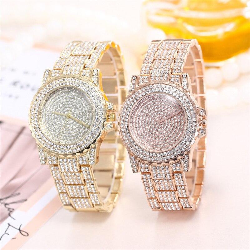 Hot Luxury Women Watches Fashion Rhinestone Stainless Steel Band Analog Quartz Round Wrist Watch Ladies Casual Crystal Clock /C