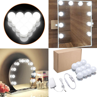 Hollywood 10 LED Bulbs Vanity Mirror Lights For Makeup Vanity Table Set Hollywood Mirror Wall Lamp Bulb For Dressing Table